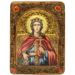 """Живописная икона """"Святая великомученица Екатерина"""" на кипарисе"""