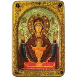 """Живописная икона Божией матери """"Неупиваемая чаша"""" на кипарисе"""