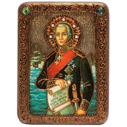 """Подарочная икона """"Святой праведный воин Феодор Адмирал (Ушаков)"""" на мореном дубе"""