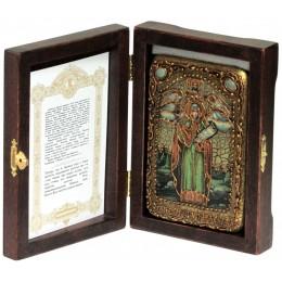 """Настольная икона """"Святая мученица Параскева Пятница"""" на мореном дубе"""