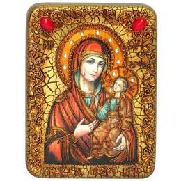 """Подарочная икона """"Образ Божией Матери """"Иверская"""" на мореном дубе"""