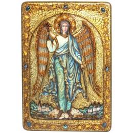 """Большая подарочная икона """"Ангел Хранитель"""" на мореном дубе"""