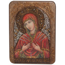 """Подарочная икона """"Образ Божией Матери """"Умягчение злых сердец"""" на мореном дубе"""