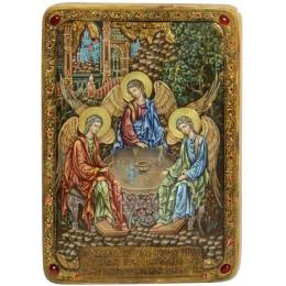"""Живописная икона """"Троица"""" подарочная на кипарисе"""
