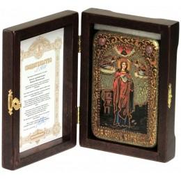 """Настольная икона """"Святая великомученица Варвара Илиопольская"""" на мореном дубе"""