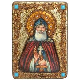 """Подарочная икона """"Преподобный Илия Муромец, Печерский"""" на мореном дубе"""