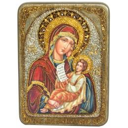 """Подарочная икона """"Образ Божией Матери """"Утоли моя печали"""" на мореном дубе"""