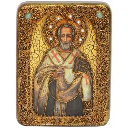 """Подарочная икона """"Святитель Иоанн Златоуст"""" на мореном дубе"""