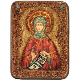 """Подарочная икона """"Преподобная Фотиния (Светлана) Палестинская"""" на мореном дубе"""