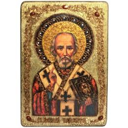 """Большая подарочная икона """"Святитель Николай, архиепископ Мир Ликийский (Мирликийский), чудотворец"""" на мореном дубе"""