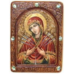"""Живописная икона """"Образ Божией Матери """"Умягчение злых сердец"""" на кипарисе"""
