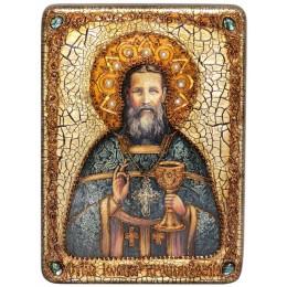 """Подарочная икона """"Святой праведный Иоанн Кронштадтский"""" на мореном дубе"""