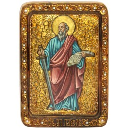 """Живописная икона """"Первоверховный апостол Павел"""" на кипарисе"""