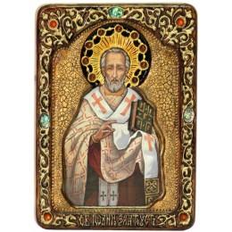 """Живописная икона """"Святитель Иоанн Златоуст"""" на кипарисе"""