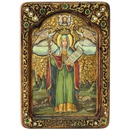"""Живописная икона """"Святая мученица Параскева Пятница"""" на кипарисе"""