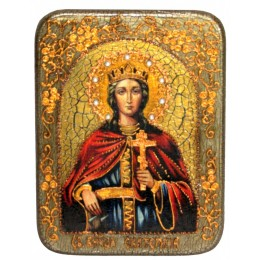 """Подарочная икона """"Святая великомученица Екатерина"""" на мореном дубе"""