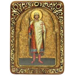 """Живописная икона """"Святой благоверный князь Борис"""" на кипарисе"""