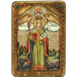 """Подарочная икона """"Святая мученица Параскева Пятница"""" на мореном дубе"""