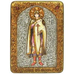 """Подарочная икона """"Святой благоверный князь Глеб"""" на мореном дубе"""