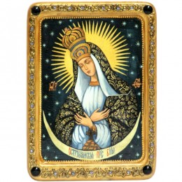 Икона живописная Образ Пресвятой Богородицы «Остробрамская (Виленская)» на кипарисе