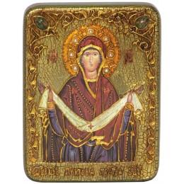 """Подарочная икона """"Образ Божией Матери """"Покров"""" на мореном дубе"""
