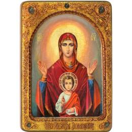 """Живописная икона Божией матери """"Знамение"""" на кипарисе"""