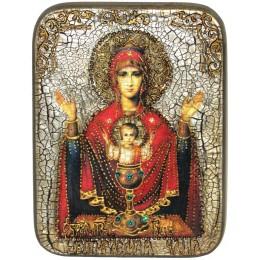 """Подарочная икона Божией матери """"Неупиваемая чаша"""" на мореном дубе"""