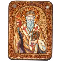 """Подарочная икона """"Святитель Спиридон Тримифунтский"""" полуаналойная"""