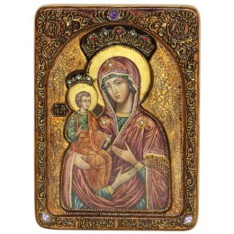 """Живописная икона """"Образ Божией Матери """"Троеручица"""" на кипарисе"""
