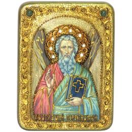 """Подарочная икона """"Святой апостол Андрей Первозванный"""" на мореном дубе"""