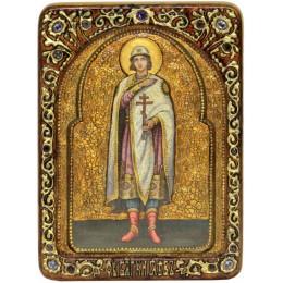 """Живописная икона """"Святой благоверный князь Глеб"""" на кипарисе"""