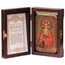 """Настольная икона """"Святитель Григорий Богослов"""" на мореном дубе"""