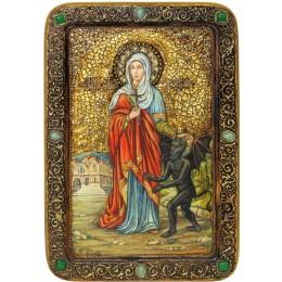 """Живописная икона """"Святая великомученица Марина (Маргарита) Антиохийская"""" на кипарисе"""