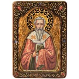 """Живописная икона """"Святитель Григорий Богослов"""" на кипарисе"""