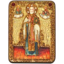 """Подарочная икона """"Святитель Николай, архиепископ Мир Ликийский (Мирликийский), чудотворец"""" на мореном дубе"""