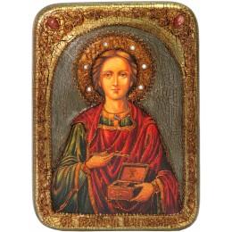 """Икона подарочная """"Святой Великомученик и Целитель Пантелеймон"""" на мореном дубе"""