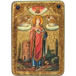 """Подарочная икона """"Святая великомученица Варвара Илиопольская"""" на мореном дубе"""