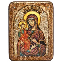 """Подарочная икона """"Образ Божией Матери """"Троеручица"""" полу-аналойного размера"""