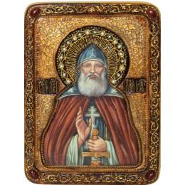 """Живописная икона """"Преподобный Илия Муромец, Печерский"""" на кипарисе"""