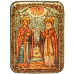 """Икона подарочная """"Петр и Февронья"""" на мореном дубе"""