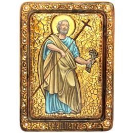 """Живописная икона """"Первоверховный апостол Петр"""" на кипарисе"""