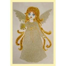 """Картина с кристалами Swarovski """"Ангелочек с колокольчиком"""""""