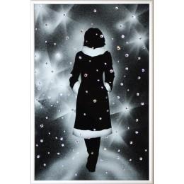 "Картина с кристалами Swarovski ""Девушка под снегом"""