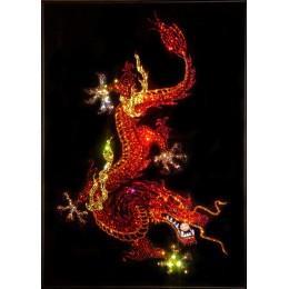 """Картина Swarovski """"Дракон с жемчужиной(красные тона)"""""""
