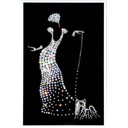 """Картина с кристалами Сваровски """"Дама с собачкой"""""""
