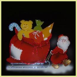 "Картина с кристалами Swarovski ""Дед Мороз с подарками"""
