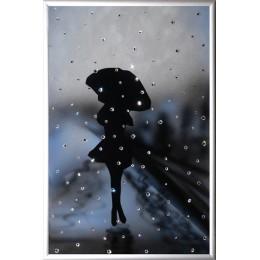 """Картина с кристалами Сваровски """"Девушка под дождем"""""""