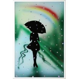 "Картина Swarovski ""Девушка под радугой"""