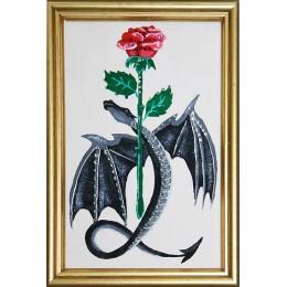 """Картина Swarovski """"Дракон с розой"""""""