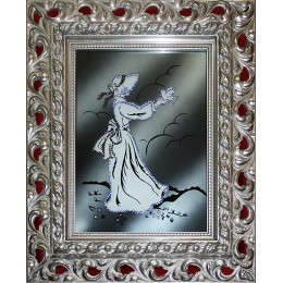 "Картина с кристалами Swarovski ""Девушка -дворянка (в багете)"""
